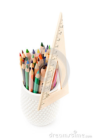 Free Back To School Supplies With Color Pencils In A Cup And Ruler. S Stock Photography - 31722012