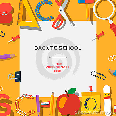 Free Back To School Template With Supplies Royalty Free Stock Photography - 41079357