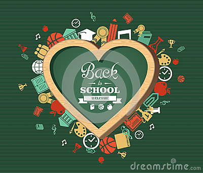 Back to school text, education love symbol and icons.