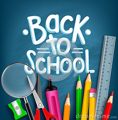 Back to School Title Words with Realistic School Items Vector Illustration