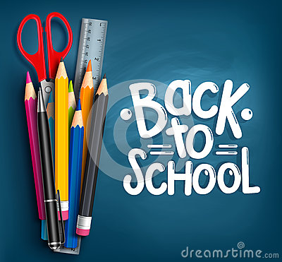 Free Back To School Title Words With Realistic School Items Royalty Free Stock Photos - 56207178