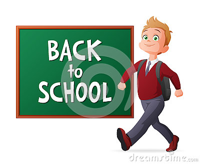 Back to school vector illustration. Proud and cheerful pupil in school uniform walking next to blackboard.