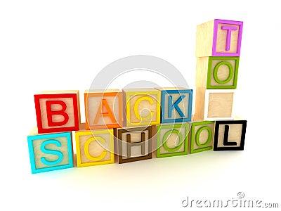 Back to school - wooden blocks letters