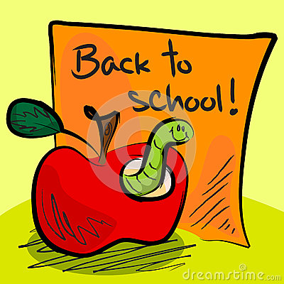 Back to school worm in apple