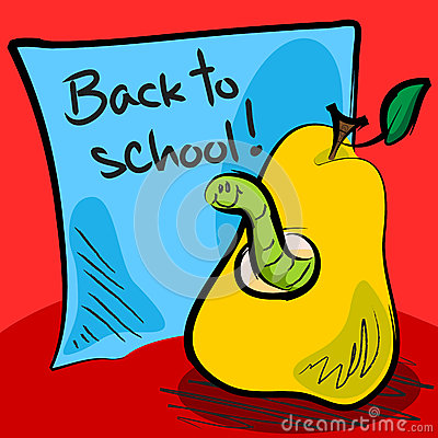 Back to school worm in pear