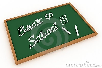 Back to school written on a chalkboard