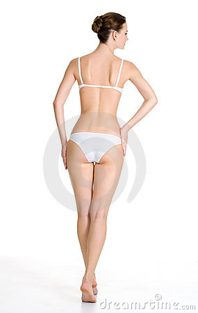 Back view of  beautiful slim female body