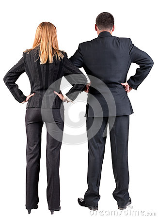 Back view of  business team look into the distance