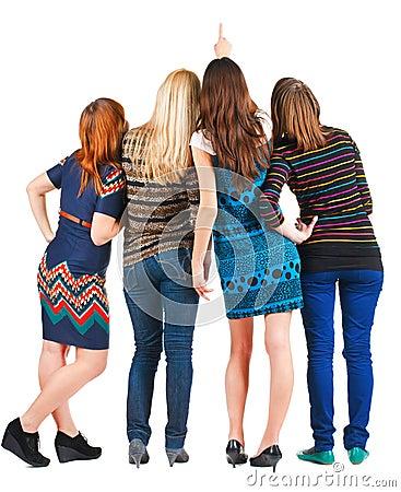 Back view of group beautiful women