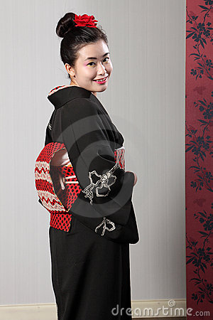 Back view Japanese kimono on happy Asian model