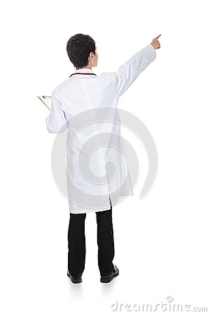 Back view of male medical doctor pointing