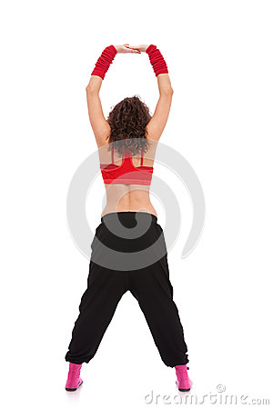 Back view of a modern dancer