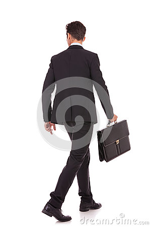 Free Back View Of A Walking Business Man With Briefcase Royalty Free Stock Photo - 27075675