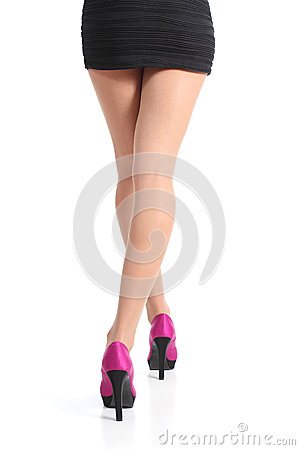 Free Back View Of A Woman Legs Walking With Fuchsia High Heels Stock Photos - 34789143
