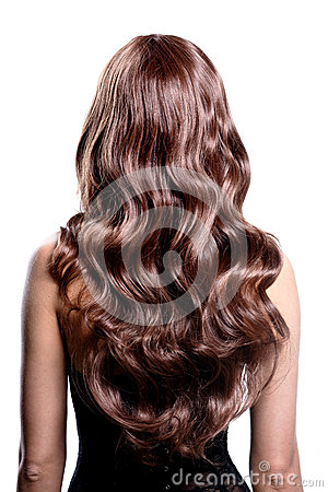 Free Back View Of Brunette Woman With Long Black Curly Hair. Stock Photos - 44483683