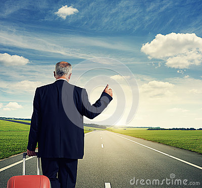 Free Back View Of Businessman With Suitcase Stock Image - 34571341