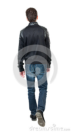 Free Back View Of Going  Handsome Man In Jacket.  Walking Young Guy Stock Photo - 61294430