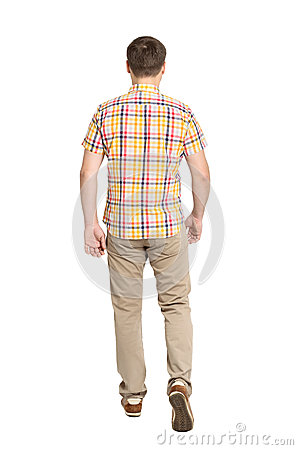 Free Back View Of Going Handsome Man In Jeans And A Shirt Stock Photography - 41232302