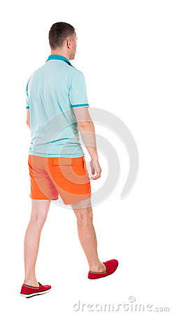 Free Back View Of Going  Handsome Man In Shorts.  Walking Young Guy Royalty Free Stock Image - 44470776