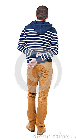 Free Back View Of Handsome Man In Striped Hooded Sweater. Royalty Free Stock Photos - 44470778