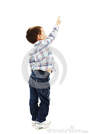 Free Back View Of Little Boy Points At Wall Royalty Free Stock Image - 40637596