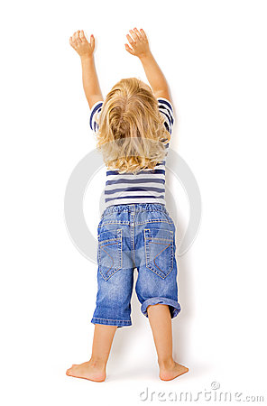Free Back View Of Little Boy With Hands Up Stock Photo - 62150290