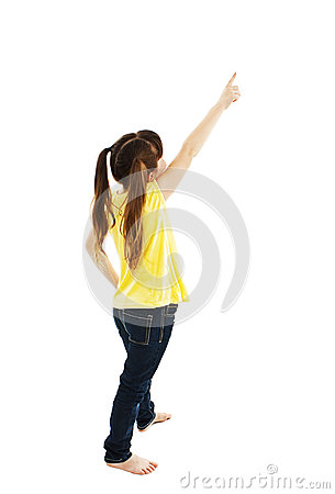 Free Back View Of Little Girl Points At Wall. Rear View Royalty Free Stock Images - 45823909