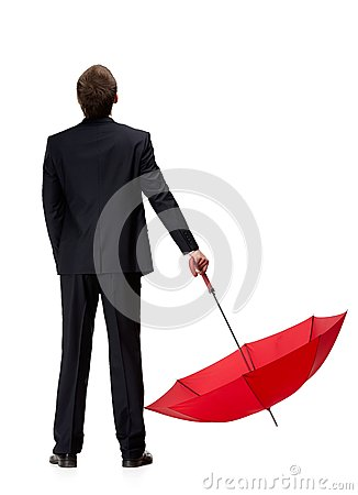 Free Back View Of Man In Suit Holding Umbrella Royalty Free Stock Images - 30457249