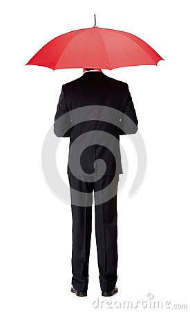 Free Back View Of Man In Suit With Umbrella Stock Image - 30457231