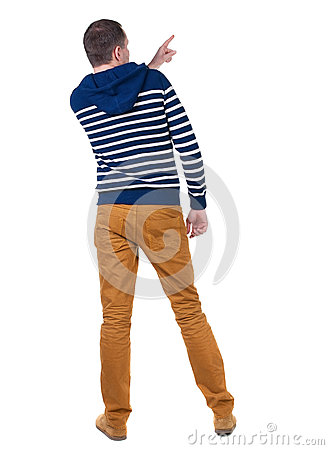 Free Back View Of  Pointing Young Men In  Hooded Sweater. Stock Photo - 44173810