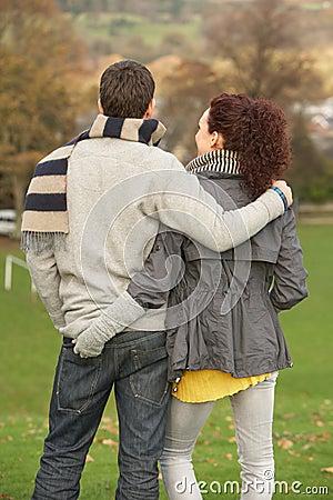 Free Back View Of Romantic Teenage Couple Stock Photo - 13671290