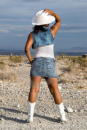 Free Back View Of Sexy Cowgirl. Stock Photos - 4152953
