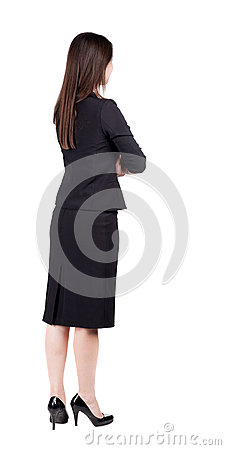 Free Back View Of Thoughtful Business Woman Contemplating. Royalty Free Stock Photos - 44469618