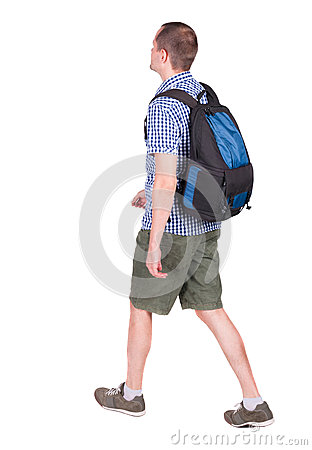 Free Back View Of Walking Man With Backpack. Stock Image - 44356731