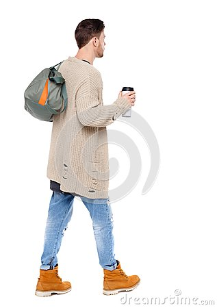 Free Back View Of Walking  Man  With Coffee Cup And Green Bag. Royalty Free Stock Images - 115053909