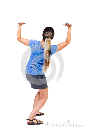 Free Back View Of Woman  Protects Hands From What Is Falling From Abo Stock Images - 60415844