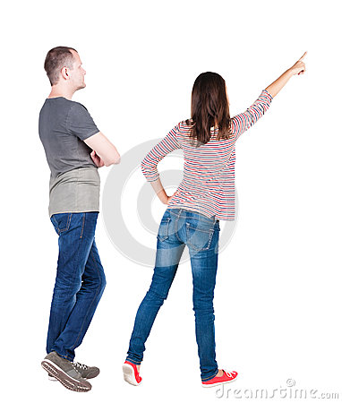 Free Back View Of Young Couple  Hug And Look Into The Distance. Stock Photography - 43573172