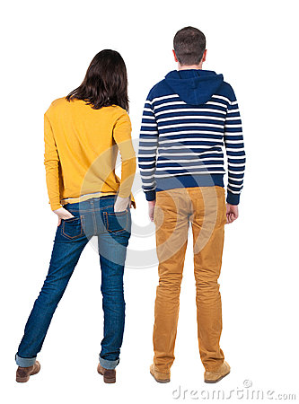 Free Back View Of Young Couple  Hug And Look Into The Distance. Royalty Free Stock Photos - 43573178