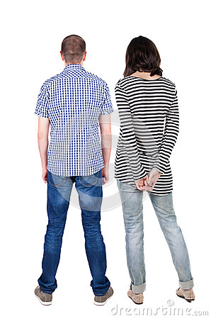 Free Back View Of Young Couple  Hug And Look Into The Distance. Royalty Free Stock Image - 43573186