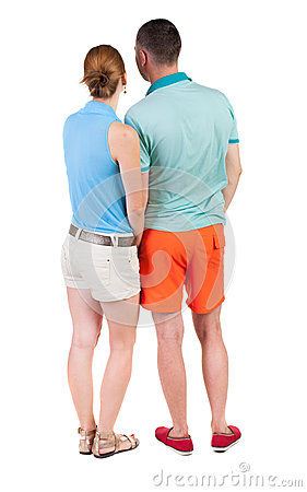 Free Back View Of Young Embracing Couple In Shorts  Hug And Look. Stock Photography - 44216522