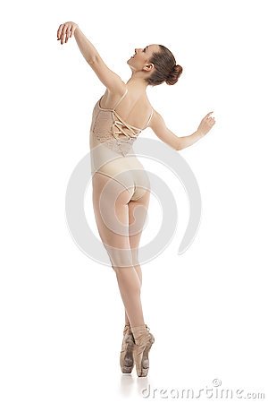 Free Back View Of Young Modern Ballet Dancer Isolated On White Background Stock Images - 86241344