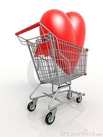 Back view of3D heart in shopping cart