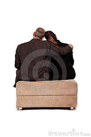 Back view of a sit couple