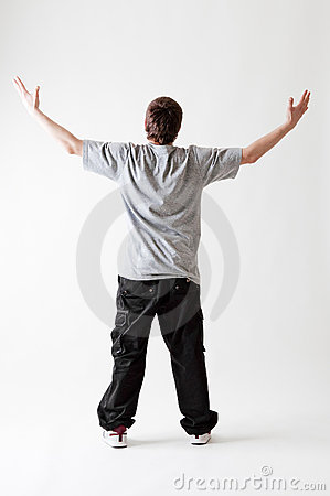 Back view of teenager in grey T-shirt