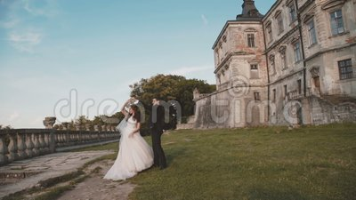 Wedding couple holds hand in hand, walks at castle and kisses each other. Back view of wedding couple holds hand in hand, walks at ancient castle and kisses each stock video footage
