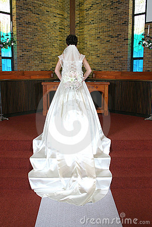 Back view of wedding dress.
