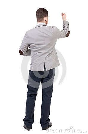 Back View Of Writing Business Man In Suit. Stock Photo ...