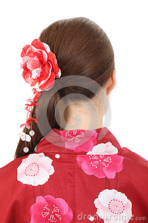Back view of young asian woman