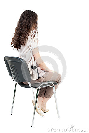 Back View Of Young Beautiful Woman Sitting On Chair. Stock ...