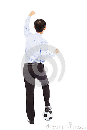 Back view of young businessman make a fist to support